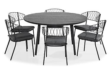 Ruokailuryhmä Tunis 140 Pyöreä + 6 Percy tuolia Pehmuste