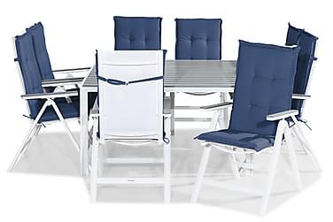Ruokailuryhmä Tunis 140x140 + 8 Monaco Light tuolia Pehmuste
