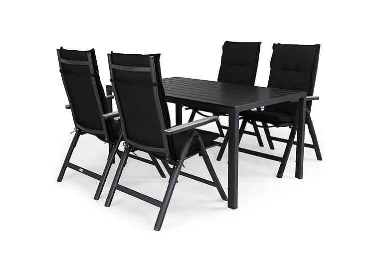 Ruokailuryhmä Tunis 150x90 + 4 Monaco Light tuolia Pehmuste - Musta/Harmaa - Puutarhakalusteet - Ulkotilan ruokailuryhmät - Ruokailuryhmät ulos
