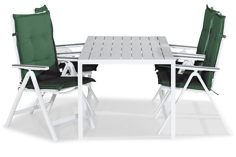 Ruokailuryhmä Tunis 150x90 + 4 Monaco Light tuolia Pehmuste - Valk/Harmaa/Vihreä - Puutarhakalusteet - Ulkotilan ruokailuryhmät - Ruokailuryhmät ulos