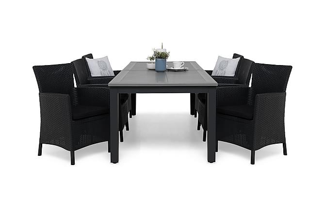 Ruokailuryhmä Tunis 220-280 cm + 6 Lady Nojatuolia pehm - Musta/Musta/Musta - Puutarhakalusteet - Ulkotilan ruokailuryhmät - Ruokailuryhmät ulos