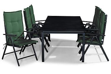 Ruokailuryhmä Tunis 220-280x90 + 6 Maggie tuolia Pehmuste