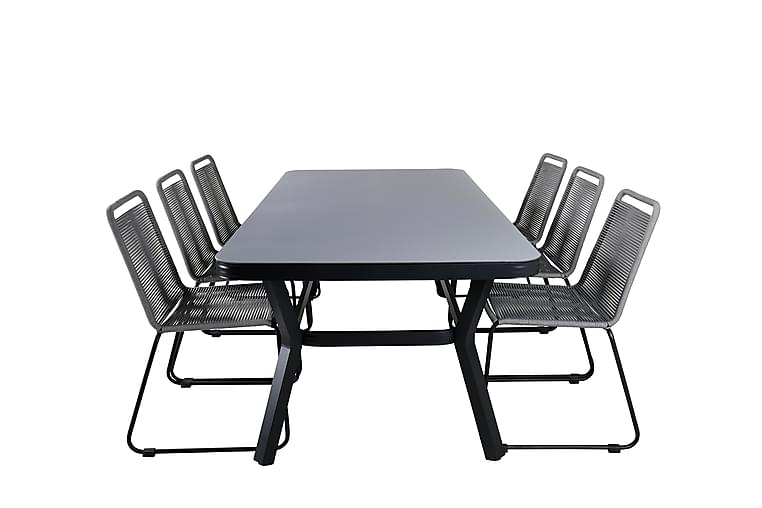 Ruokailuryhmä Vanja 200 cm 6 Lindos tuolia - Musta / Harmaa - Puutarhakalusteet - Ulkotilan ruokailuryhmät - Ruokailuryhmät ulos
