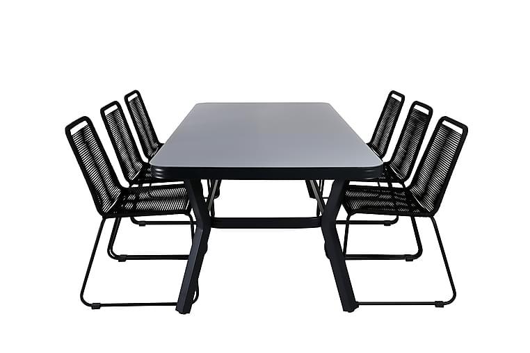 Ruokailuryhmä Vanja 200 cm 6 Linero tuolia - Musta / Harmaa - Puutarhakalusteet - Ulkotilan ruokailuryhmät - Ruokailuryhmät ulos