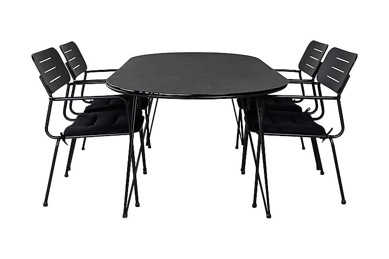 Ruokailuryhmä Viggo 200 cm 4 Nowo tuolia - Harmaa / Musta - Puutarhakalusteet - Ulkotilan ruokailuryhmät - Ruokailuryhmät ulos