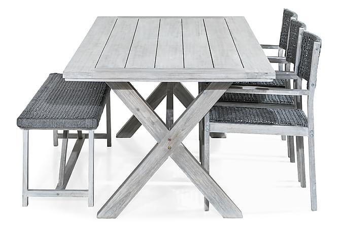 Ruokailuryhmä Visby 200x100 + 3 tuolia + Penkki - Valkoinen/Akaasia - Puutarhakalusteet - Ulkotilan ruokailuryhmät - Ruokailuryhmät ulos