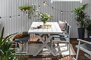 Ruokailuryhmä Visby 200x100 + 3 tuolia + Penkki