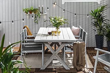 Ruokailuryhmä Visby 200x100 + 6 tuolia