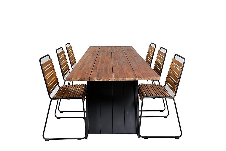 Ruokapöytä Domino 6 Bounce Ruokatuolia - Puutarhakalusteet - Ulkotilan ruokailuryhmät - Ruokailuryhmät ulos