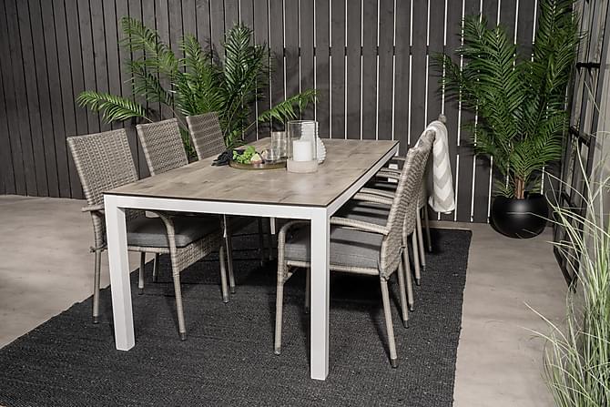 Alpaca Ruokapöytä ja 6 Ariamab nojatuolia - Valkoinen/Harmaa - Puutarhakalusteet - Ulkotilan ruokailuryhmät