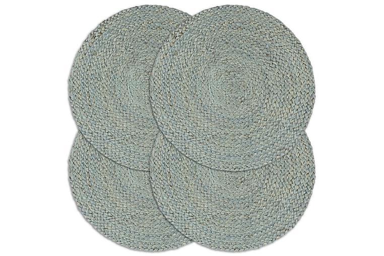 Tabletit 4 kpl kuvioton oliivinvihreä 38 cm pyöreä juutti - Vihreä - Sisustustuotteet - Keittiötarvikkeet - Keittiön tekstiilit