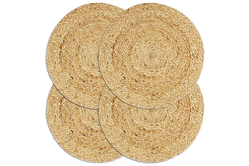 Tabletit 4 kpl luonnollinen 38 cm pyöreä juutti - Ruskea - Sisustustuotteet - Keittiötarvikkeet - Keittiön tekstiilit
