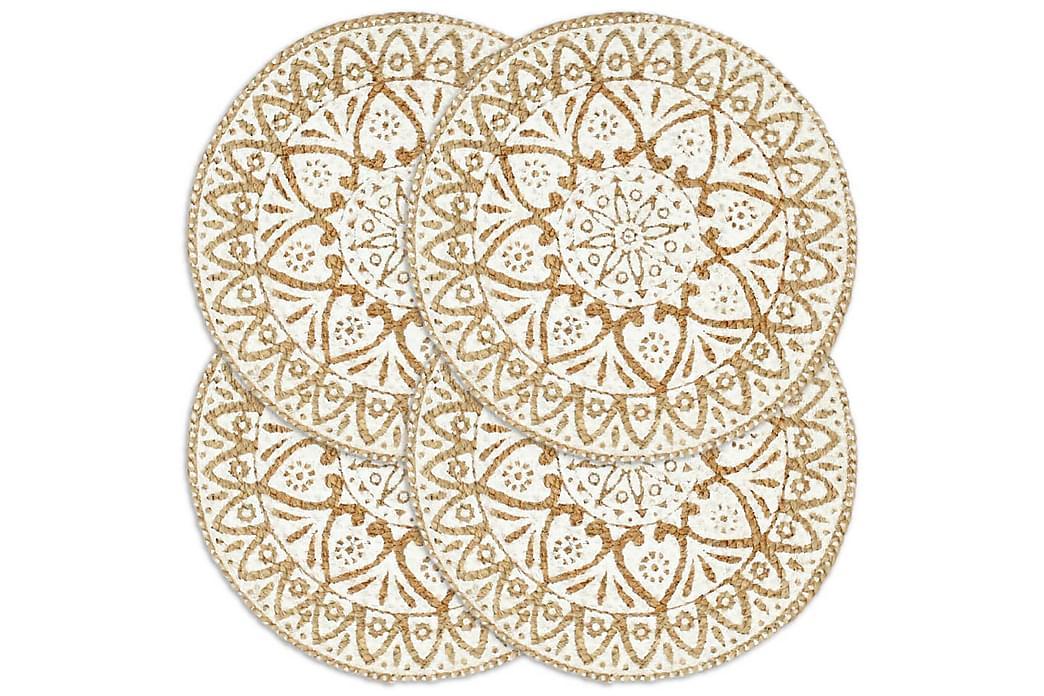 Tabletit 4 kpl valkoinen 38 cm pyöreä juutti - Valkoinen - Sisustustuotteet - Keittiötarvikkeet - Keittiön tekstiilit