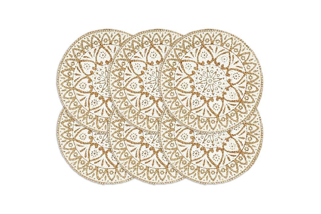 Tabletit 6 kpl valkoinen 38 cm pyöreä juutti - Valkoinen - Sisustustuotteet - Keittiötarvikkeet - Keittiön tekstiilit