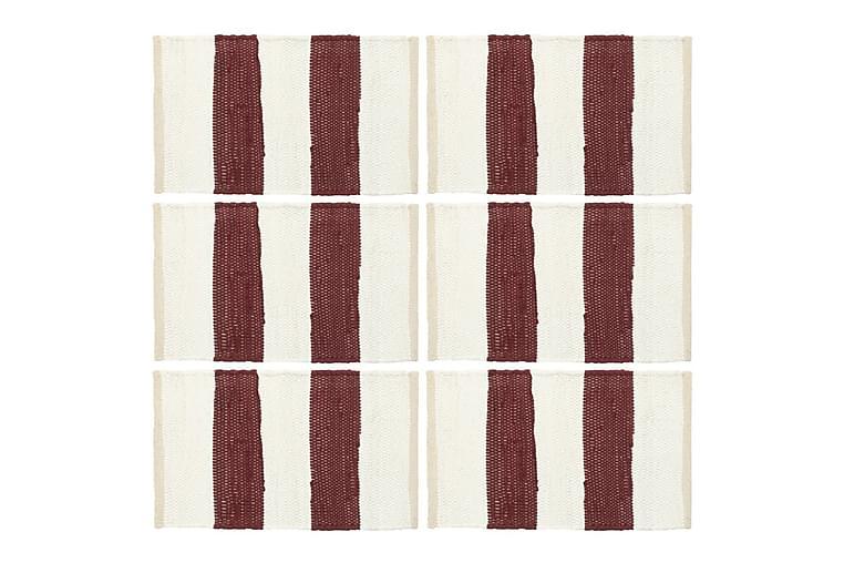 Tabletit 6kpl Chindi-raita viininpunainen/valkoinen 30x45cm - Punainen - Sisustustuotteet - Keittiötarvikkeet - Keittiön tekstiilit