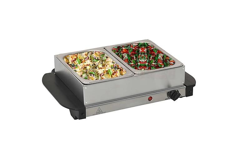Noutopöydän tarjoiluastia ruostumaton teräs 200 W 2x1,5 L - Hopea - Sisustustuotteet - Keittiötarvikkeet - Keittiövarusteet