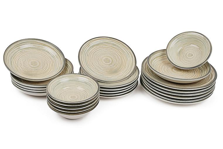 Ruoka-astiasto Kütahya 24 osaa Nanoposliini - Ruskea/Beige/Kerma - Sisustustuotteet - Keittiötarvikkeet - Lautaset