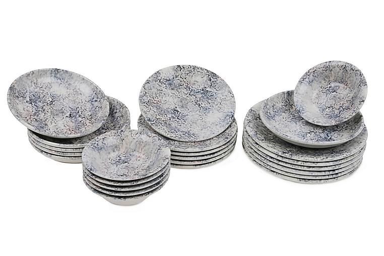 Ruoka-astiasto Kütahya 24 osaa Nanoposliini - Valkoinen/Sininen/Ruskea - Sisustustuotteet - Keittiötarvikkeet - Lautaset