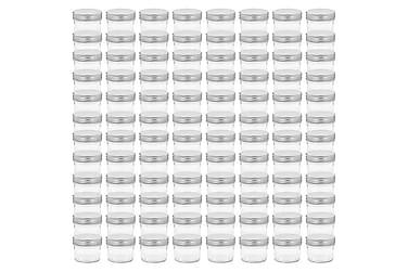 Lasiset hillopurkit hopean värisillä kansilla 96 kpl 110 ml