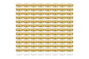 Lasiset hillopurkit kullan värisillä kansilla 96 kpl 110 ml
