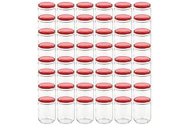 Lasiset hillopurkit punaisilla kansilla 48 kpl 230 ml