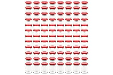 Lasiset hillopurkit punaisilla kansilla 96 kpl 230 ml