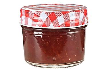 Lasiset hillopurkit valkopunaisilla kansilla 48 kpl 110 ml