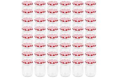 Lasiset hillopurkit valkopunaisilla kansilla 48 kpl 230 ml