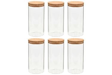 Lasiset säilytyspurkit korkkikannella 6 kpl 1100 ml