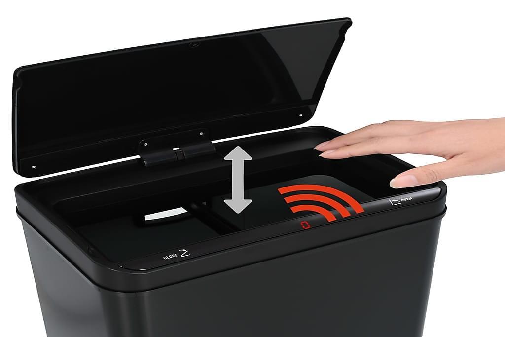 Roskakori automaattisella anturilla musta teräs 80 l - Musta - Sisustustuotteet - Keittiötarvikkeet - Roskakorit & jäteastiat