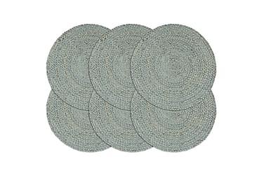 Tabletit 6 kpl kuvioton oliivinvihreä 38 cm pyöreä juutti