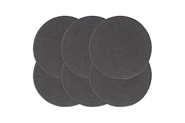 Tabletit 6 kpl kuvioton tummanharmaa 38 cm pyöreä puuvilla