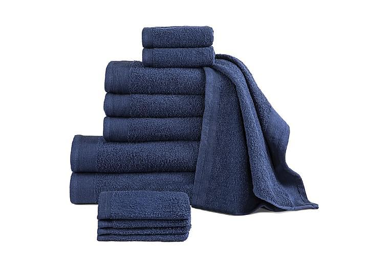 12-osainen pyyhesarja puuvilla 450 g/m² laivastonsininen - Sisustustuotteet - Kodintekstiilit - Kylpyhuoneen tekstiilit