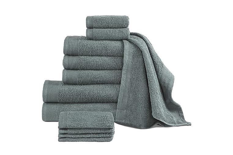 12-osainen pyyhesarja puuvilla 450 g/m² vihreä - Sisustustuotteet - Kodintekstiilit - Kylpyhuoneen tekstiilit