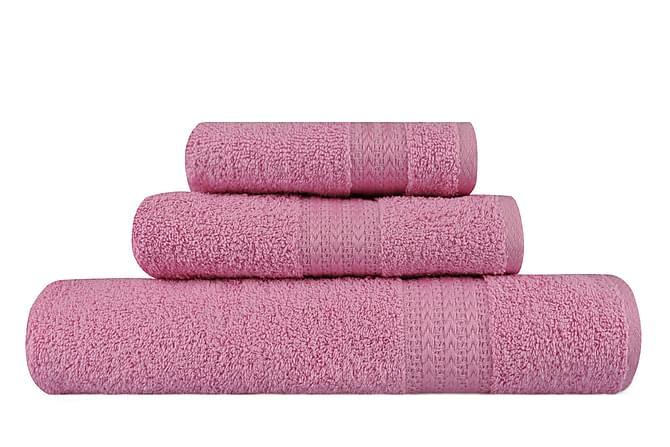 Käsipyyhe Hobby 3:n setti - Roosa - Sisustustuotteet - Kodintekstiilit - Kylpyhuoneen tekstiilit