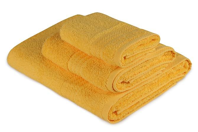 Käsipyyhe Hobby 3:n setti - Tummankeltainen - Sisustustuotteet - Kodintekstiilit - Kylpyhuoneen tekstiilit