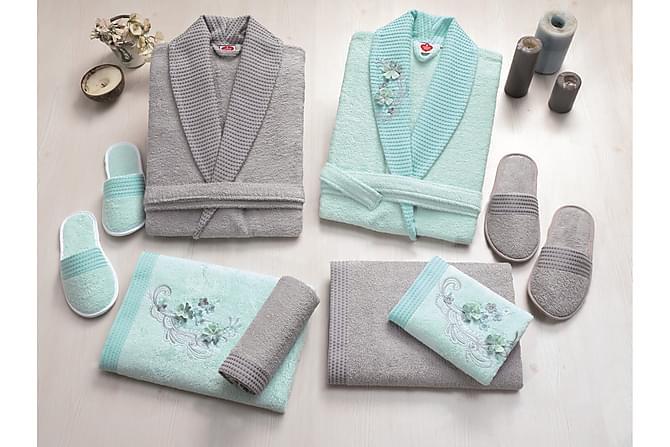 Käsipyyhesetti Cotton Box Perhe 4:n setti - Minttu/Harmaa - Sisustustuotteet - Kodintekstiilit - Kylpyhuoneen tekstiilit