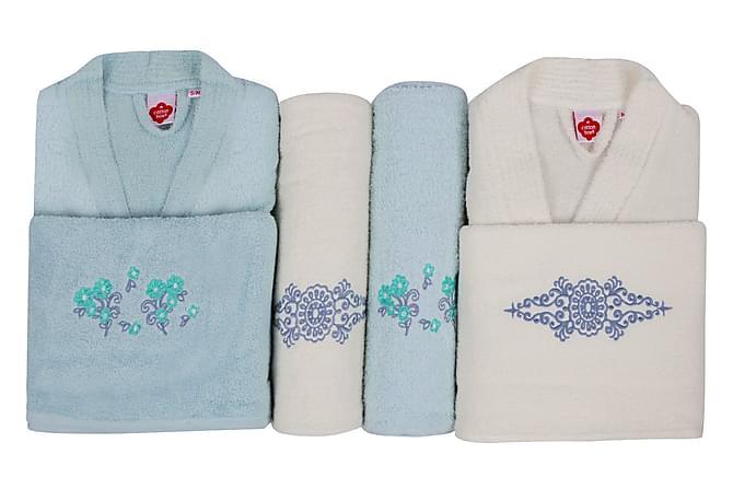 Käsipyyhesetti Cotton Box Perhe 4:n setti - Minttu/Kerma - Sisustustuotteet - Kodintekstiilit - Kylpyhuoneen tekstiilit