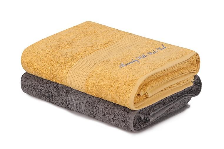 Kylpypyyhe Romilla 2 kpl - Tummanharmaa/keltainen - Sisustustuotteet - Kodintekstiilit - Kylpyhuoneen tekstiilit