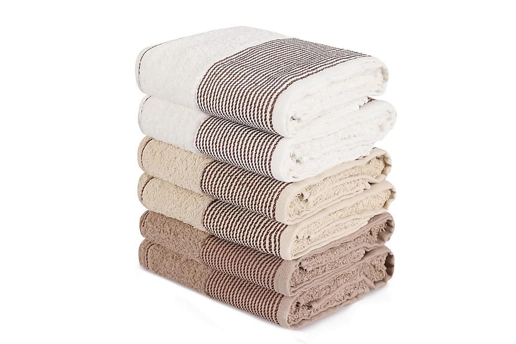 Pyyhe Hedon 6 kpl - Ruskea/harmaa/valkoinen - Sisustustuotteet - Kodintekstiilit - Kylpyhuoneen tekstiilit