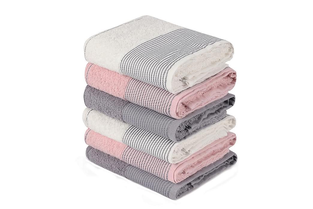 Pyyhe Hedon 6 kpl - Vaaleanpun/harmaa/valkoinen - Sisustustuotteet - Kodintekstiilit - Kylpyhuoneen tekstiilit