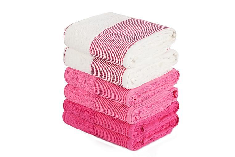 Pyyhe Hedon 6 kpl - Valkoinen/Vaaleanpunainen - Sisustustuotteet - Kodintekstiilit - Kylpyhuoneen tekstiilit