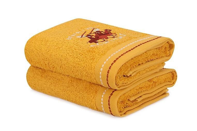 Pyyhe Romilla 2 kpl - Keltainen - Sisustustuotteet - Kodintekstiilit - Kylpyhuoneen tekstiilit