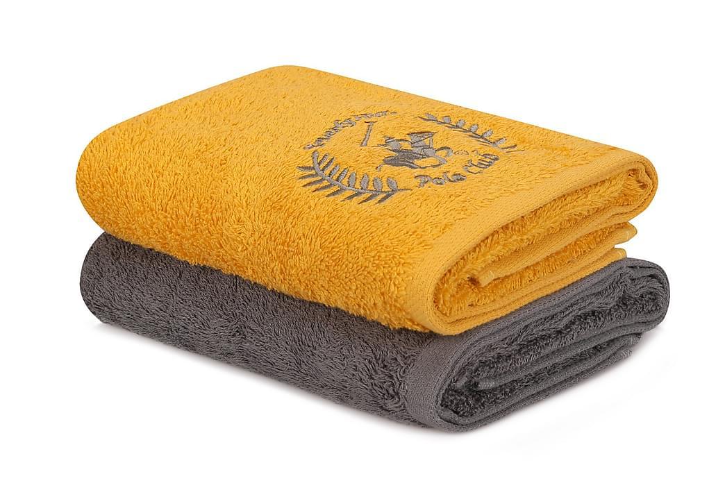 Pyyhe Romilla 2 kpl - Keltainen/tummanharmaa - Sisustustuotteet - Kodintekstiilit - Kylpyhuoneen tekstiilit