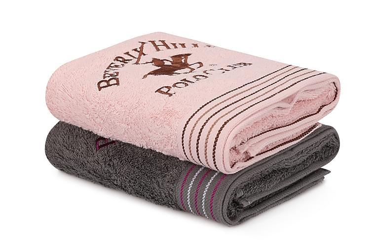 Pyyhe Romilla 2 kpl - Tummanharmaa/vaaleanpunainen - Sisustustuotteet - Kodintekstiilit - Kylpyhuoneen tekstiilit