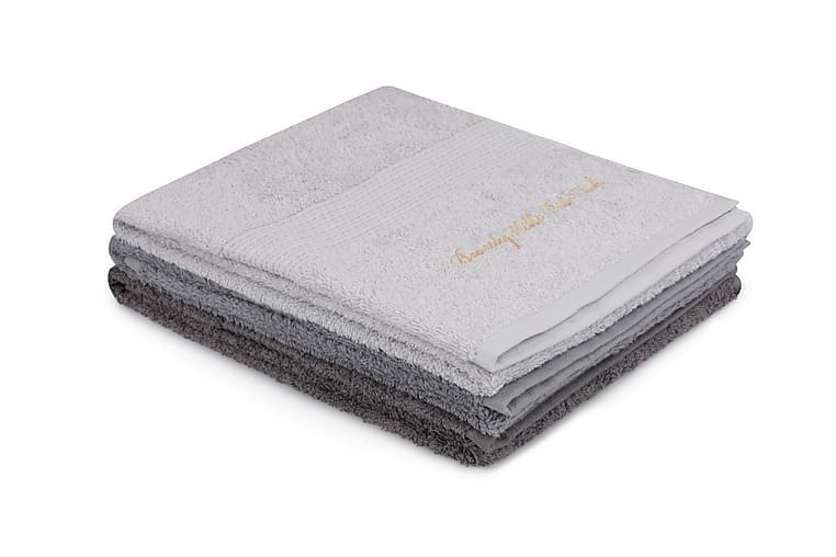 Pyyhe Romilla 3 kpl - Vaaleanharm/harmaa/tummanharm - Sisustustuotteet - Kodintekstiilit - Kylpyhuoneen tekstiilit