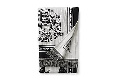 Torkkupeite Muumikartta 130x180 cm Musta/valkoinen