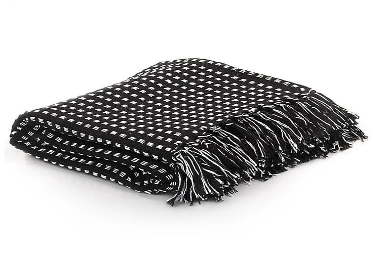 Viltti puuvilla neliöt 125x150 cm musta - Musta - Sisustustuotteet - Kodintekstiilit - Torkkupeitot