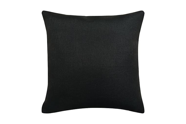 Tyynynpäällinen Pellavatyylinen Musta 4kpl 80x80 cm - Musta - Sisustustuotteet - Kodintekstiilit - Tyynynpäälliset
