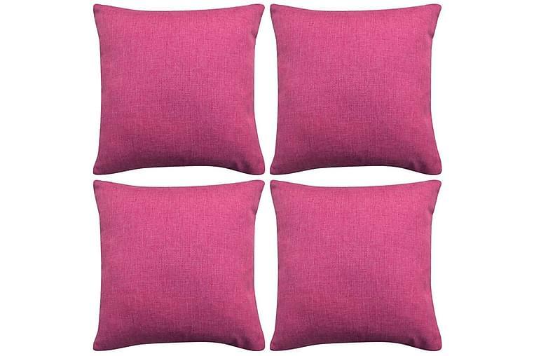 Tyynynpäällinen Pellavatyylinen Pinkki 4kpl 40x40 cm - Pinkki - Sisustustuotteet - Kodintekstiilit - Tyynynpäälliset